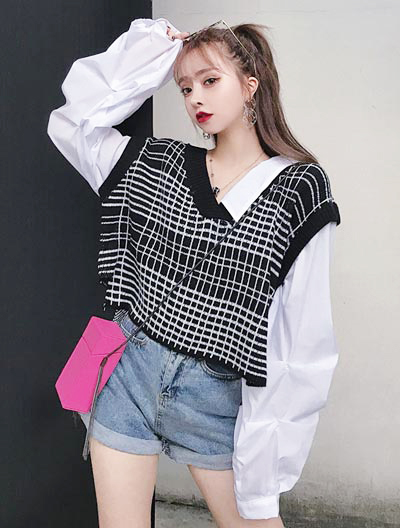 Oversized false two checked knit-paneled shirt