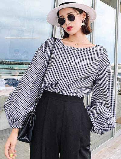 Oversized gingham shirt