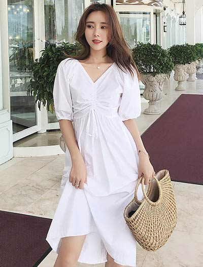 Solid color drawstring cotton blend midi dress