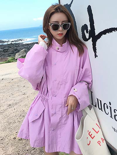 Solid color drawstring cotton blend trench coat