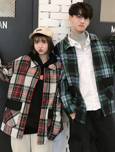 Checked cotton blend jacket
