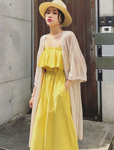 See-through/sheer knit long summer outer