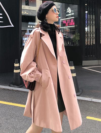 Double-breasted belted paneled trench coat