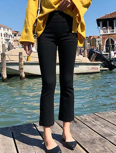 Cropped high rise flared trousers/pants