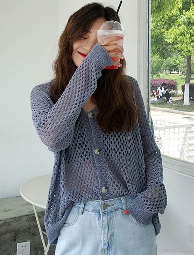 Solid color oversized cardigan