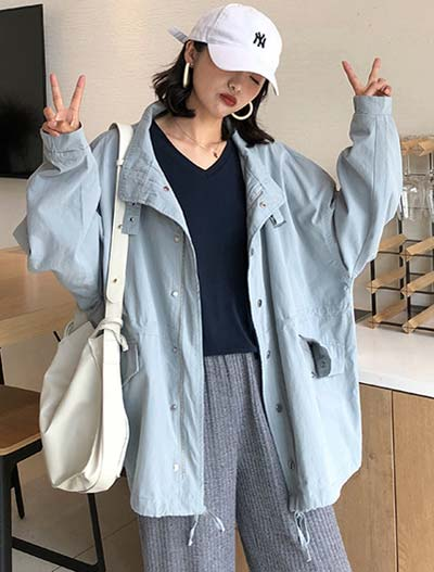 Oversized cotton blend trench coat