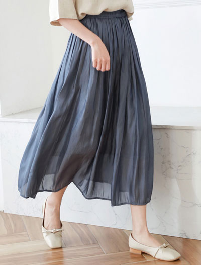 High rise solid color midi skirt