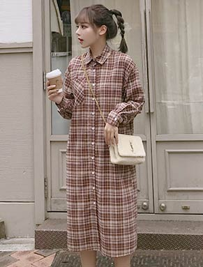 Oversized checked cotton midi shirt dress