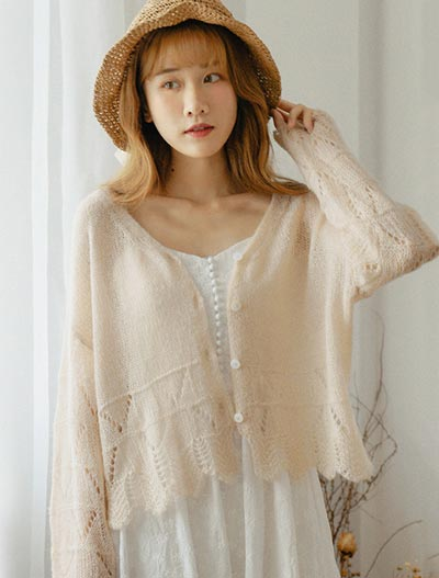 Solid color wool blend cardigan