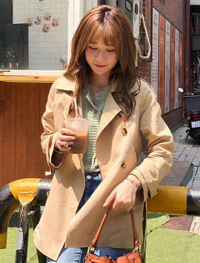 Double-breasted belted cotton blend trench coat