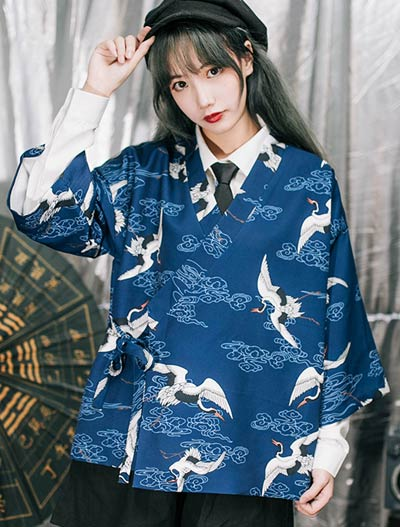 Oversized crane printed outer