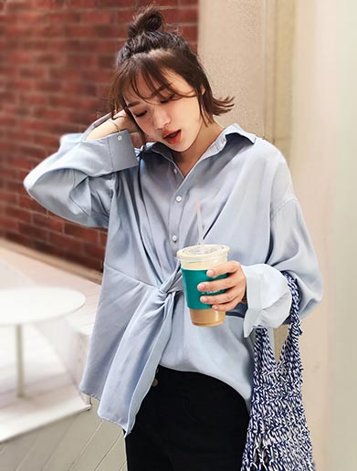 Oversized knotted cotton blend shirt