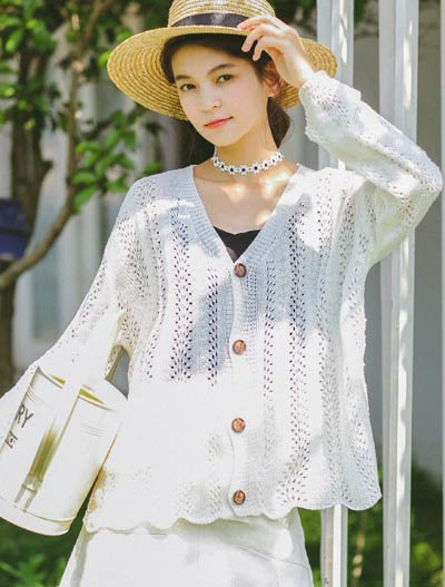 Solid color knit summer outer