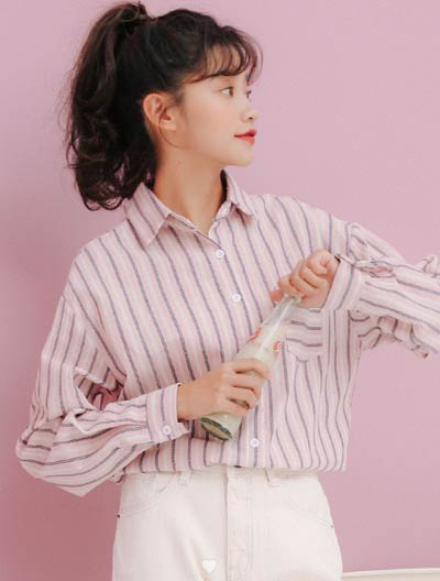 Oversized striped cotton blend shirt