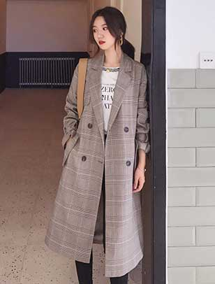 Double-breasted checked trench coat