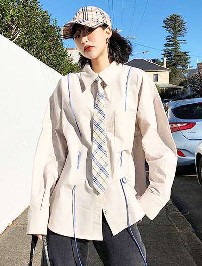 Oversized tied cotton blend shirt