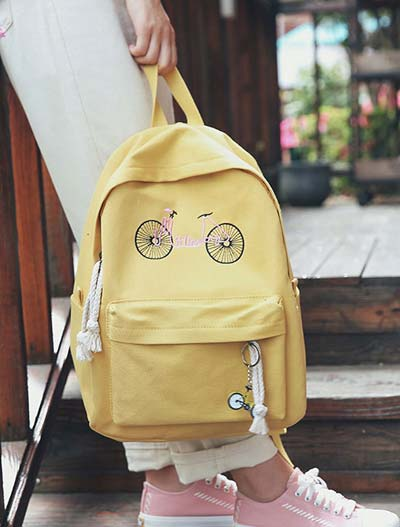Bike printed pendent canvas backpack