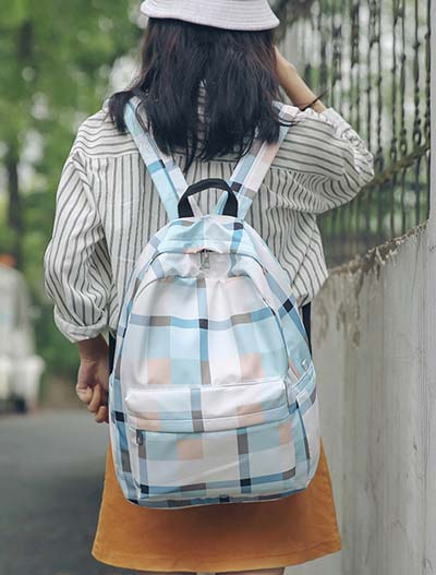 Checked color-block backpack