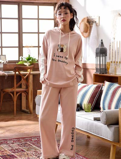 Hooded letter embroidered cotton pyjama set
