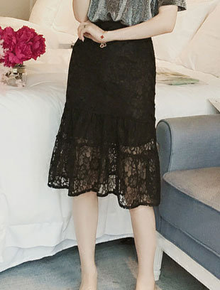 High rise lace-paneled fluted midi skirt