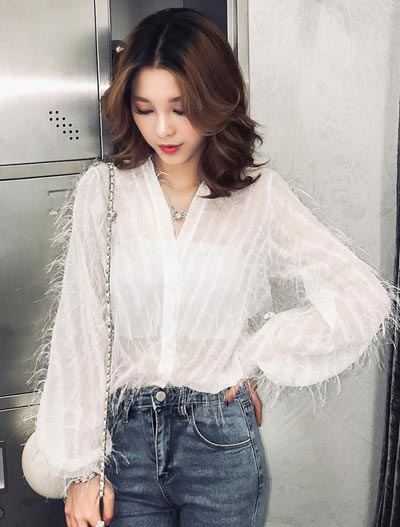See-through/sheer fringed shirt
