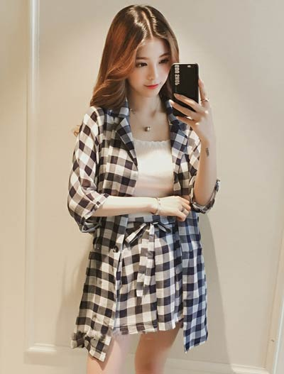 Checked shirt+tie-front shorts set