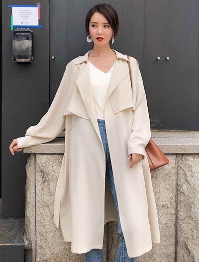 Belted solid color trench coat