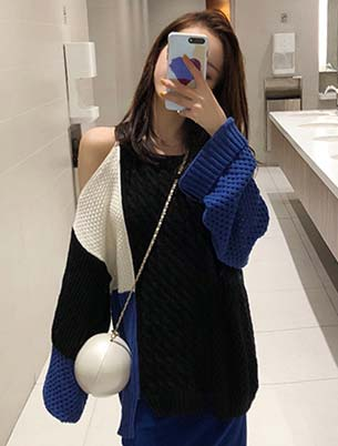 Cold-shoulder cable-knit color-block sweater