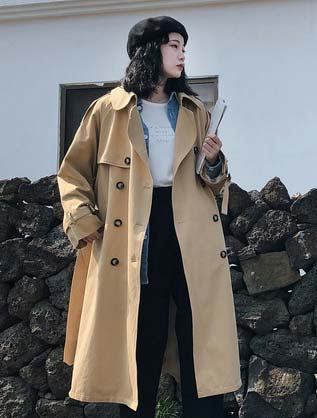 Double-breasted belted slit trench coat