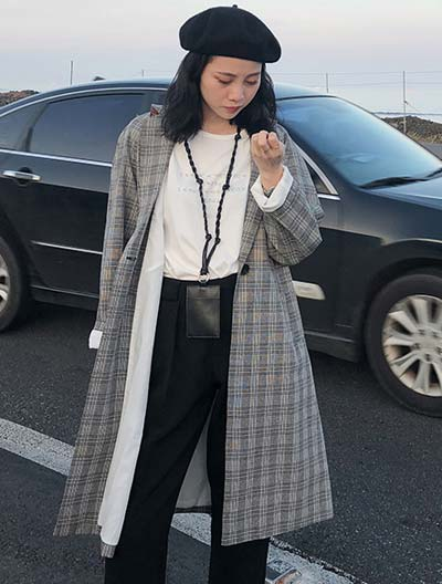 Oversized checked cotton blend trench coat