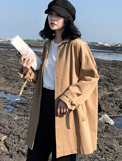 Oversized cotton trench coat