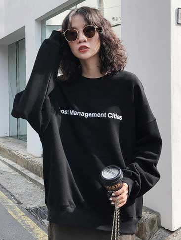 Oversized letter printed cotton sweatshirt