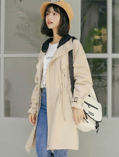 Hooded drawstring trench coat