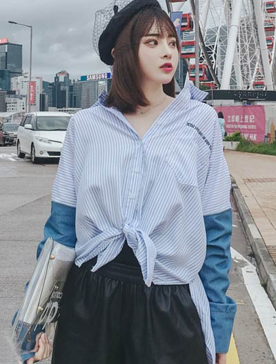 Denim-paneled striped cotton shirt