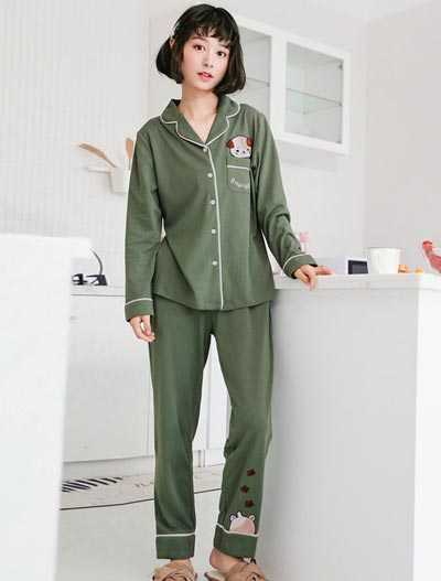 Cartoon embroidered cotton pyjama set