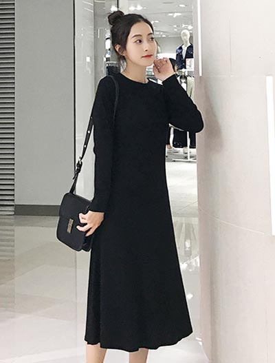 Solid color midi knit dress
