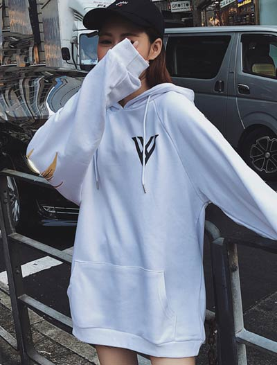 Oversized wing embroidered cotton blend hoodie