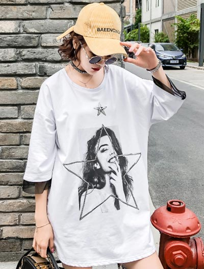 Oversized image printed cotton T-shirt
