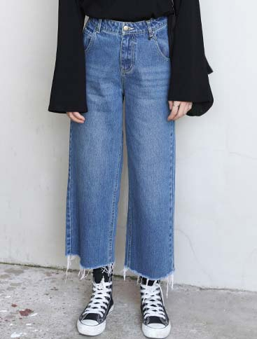 High rise wide-leg cropped jeans