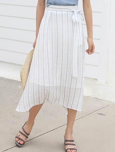 High rise side-tie striped midi skirt