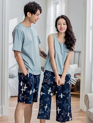 Bird printed cotton pyjama set