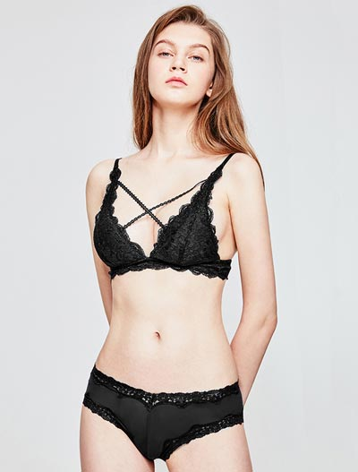 Crossover stretch-lace padded bralette + briefs set