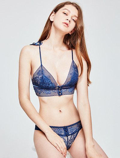 Lace bowknot soft-cup stretch-lace triangle bralette + briefs se
