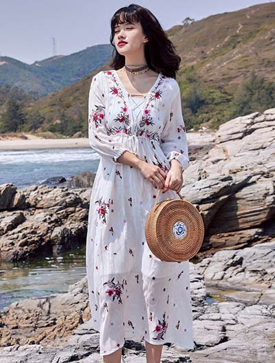 Floral embroidered lace-up beach cotton blend midi dress