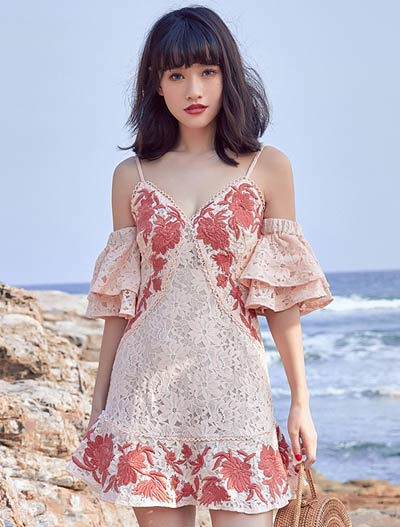Cold-shoulder floral embroidered ruffled beach mini dress