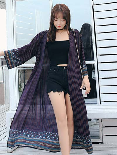 Striped printed beach chiffon long summer outer
