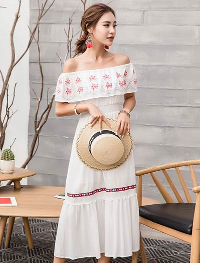Floral embroidered off-the-shoulder ruffled beach midi dress
