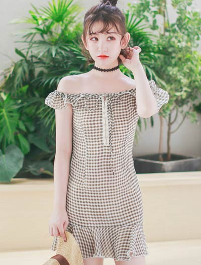 Off-the-shoulder checked ruffled fluted chiffon mini dress