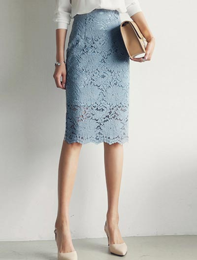 High rise lace midi skirt