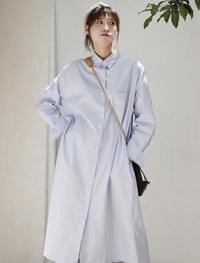 Oversized solid color midi shirt dress